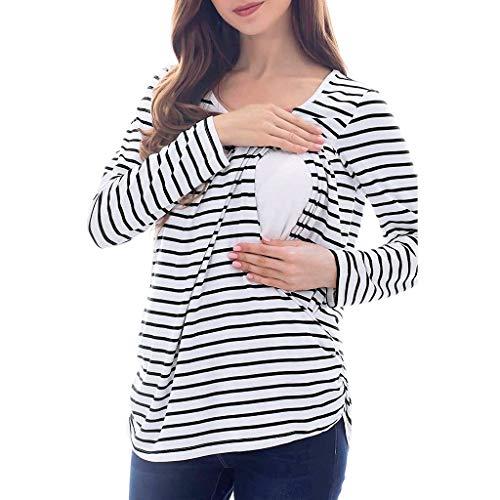 Schwangerschafts- und Still Top,mit Still BH Funktion Mutterschafts Langarm Pullover T-Shirt Schwangerschaft Basic Stillzeit Umstandsmode Stillshirts
