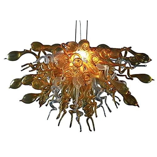 Freigwind Mano Soplado De Vidrio Art Lámpara De Araña De Techo Luz Colgante Colgante Lámpara De Araña para El Dormitorio,Salón,Comedor-W32×h16 W80cm×h40cm
