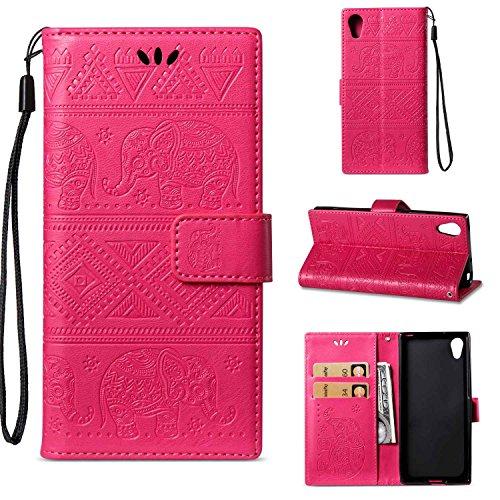 pinlu Schutzhülle Für Sony Xperia XA 2017 Handyhülle Hohe Qualität PU Ledertasche Brieftasche Mit Stand Function Elefanten Muster Rose Rot