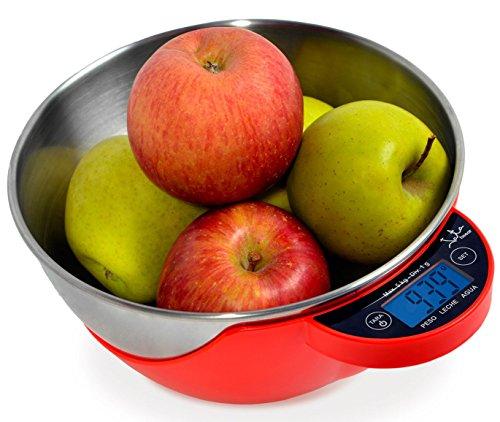 Jata multifunctionele elektronische keukenweegschaal, rood