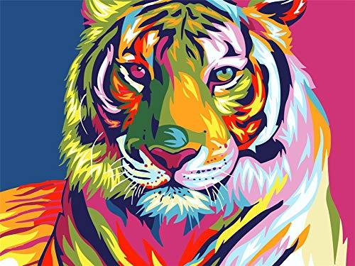 Xykhlj Colorido Tiger_DIY Nueva pintura por números para adultos Niños Preimpresión Lienzo Kit de regalo de pintura al óleo preimpresa Arte de lona para decoración del hogar 40 x 50 cm sin marco