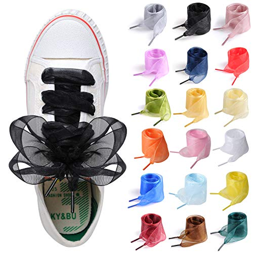 Shoe Laces for Sneakers, 18 Pairs Flat Satin Ribbon Shoelaces for Women Girls Sneaker Shoestrings 4CM Wide (43' (110CM), 18 Colors)