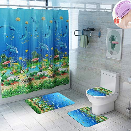 Enhome Juego de 4 Piezas de Cortinas de Ducha, Alfombra de baño Antideslizante + Tapa de Inodoro + Cortina de Ducha Resistente al Moho 3D Impresión Oceano (Oceano)