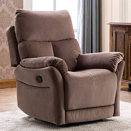 ANJ Manual Fabric Recliner Chair, Soft Reclining Chair for Living Room Modern Sofa with Overstuffed Armrest and Back (Beige)