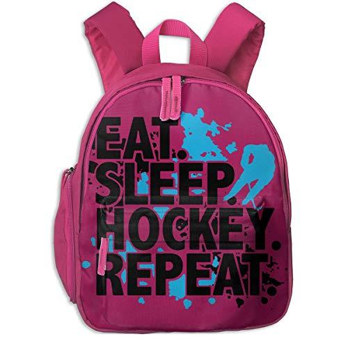ADGBag Kinder Rucksack Full-Size Printed Eat Sleep Hockey Repeat Pocket Backpacks Backpack Schoolbag for Childrens Kids Children Boys Girls