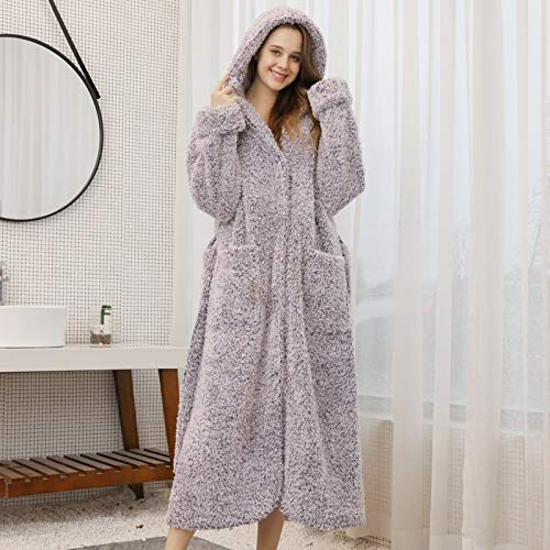 RHBPSJ Winter Plush Bathrobe Winter Warm Robe Kimono Bathrobe Gown Couple Hooded Nightwear Intimate Lingerie Casual Men&Women Nightgown Sleepwear Homewear (Color : Purple Women, Size : XXXL)