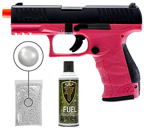 Wearable4U Umarex Elite Force Walther PPQ Green Gas Blowback Pistol GBB Airsoft Gun (Wildberry) with Green Gas (Fuel) Tank Pack of 1000 6mm Plastic BBS Bundle