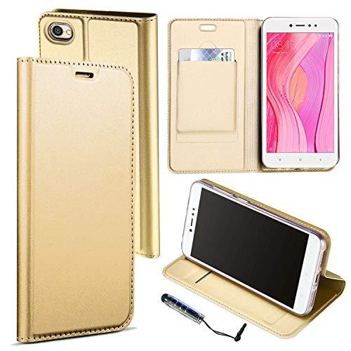 Guran® Funda de Cuero PU para Xiaomi Redmi Note 5A Prime Smartphone Flip Case Construido en TPU con Función de Soporte con Ranura para Tarjetas Estilo de Negocios Cover - Oro