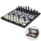 LQH Ajedrez Damas y Backgammon magnético Juego de ajedrez for niños y Adultos con 3 en 1 ajedrez Damas y Backgammon, ajedrez Plegable portátil de 12,4 Pulgadas Viaje Sets G