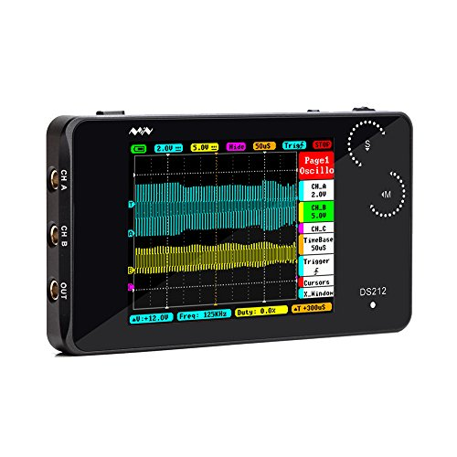 "KKmoon Digital Oszilloskop DS212 DSO 2 Kanal Taschenformat USB Schnittstelle 2,8\""Vollfarb TFT Display 8MB Speicherbandbreite 1 MHz Abtastrate 10MSa/s"