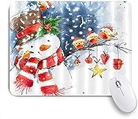 MISCERY マウスパッド 水彩漫画雪だるま鳥が冬の雪の中で枝に立っているクリスマス帽子を着用します 高級感 おしゃれ 防水 端ステッチ 耐久性が良い 滑らかな表面 滑り止めゴム底 24cmx20cm
