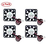 TeOhk 4Pcs Mini fan DC Ventilador de refrigeración 5V 0.12A con cable, Terminal mini silencioso para impresora 3D, módulo de ventilador, (40 * 40 * 10 mm)