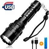 [2020 Upgrade] Brionac Rechargeable LED Flashlight, Waterproof Flashlight High Lumen Super Bright Pocket-Sized, 5 Modes, for Camping, Biking, Walking, Outdoor or Gift-Giving (Battery Included)