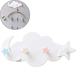 Egosy Self-Adhesive Hook Rack Cloud Moon Star Wall Hook DIY Clothes Hanger Wall Decoration for Glass Shower Wall