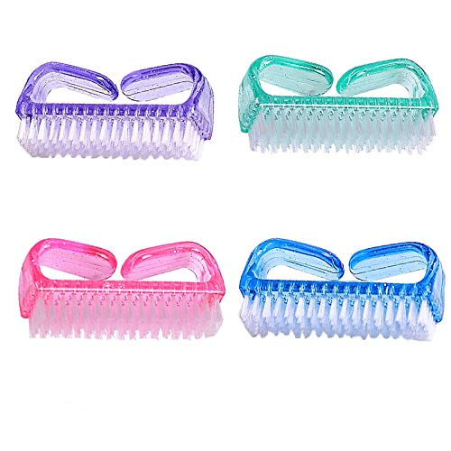 Handle Grip Nail Brush Fingernail Scrub Cleaning Brushes Fingernail Scrub Cleaning Brushes for Toes and Nails Cleaner Pedicure Brushes for Toes and Nails 4 Pack