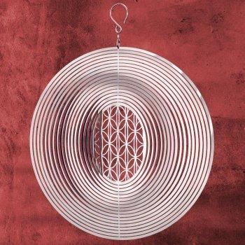 CIM Edelstahl Deko Windspiel - Mirror Ornament Raute 250 - Abmessung: Ø25cm - inklusiv Kugellagerwirbel, Haken und Nylonschnur - Vogelabwehr - Vogelschreck