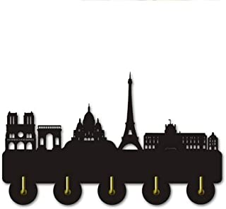 ANMY Paris Skyline Silhouette Decorative Wall Hooks Beautiful Wall Art Decor Wall Sticker Clothes Hanger Wood Coat Hook,Black