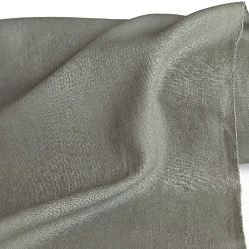 TOLKO 50cm Leinen-Stoff als Meterware | blickdichter Naturstoff | für Hose Rock Bluse Kleider Gewänder | fein gewebter Dekostoff für Vorhänge Gardinen und Dekorationen | 140cm breit (Salbei)
