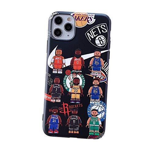 FGHYU Caja del teléfono de la Estrella del Baloncesto, la Cubierta de la célula de Graffiti del Personaje de Dibujos Animados, Protector de protección para iPhone 11 Pro m Black-X