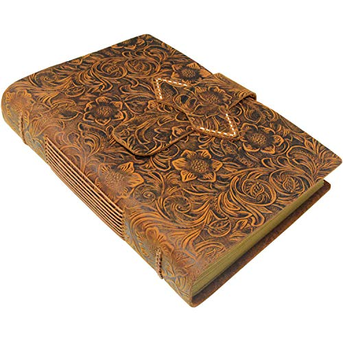 Handmade Notebook - Antique Leather-Bound A5 Daily Note Pads for Men & Women, Best Gift for Art Sketchbook,Unlined Kraft Paper,Travel Diary & Journals to Write in (Brown)