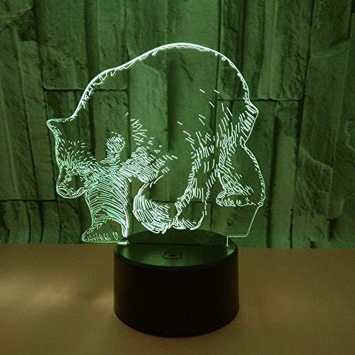 3D LED Lampe D'illusion Optique Veilleuse Ours Polaire Lumière De Nuit Avec Câble USB Et 7 Couleurs Décoration Pour Enfant Chambre Chevet Table De Bébé Enfant Cadeau De Noël Fête Anniversaire