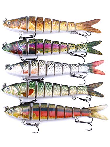 "DZRZVD Fishing Lures for Bass 5.5"" Multi Jointed Swimbaits Slow Sinking Hard Lure Tackle Kits Lifelike D8J 5 Packs with Box"