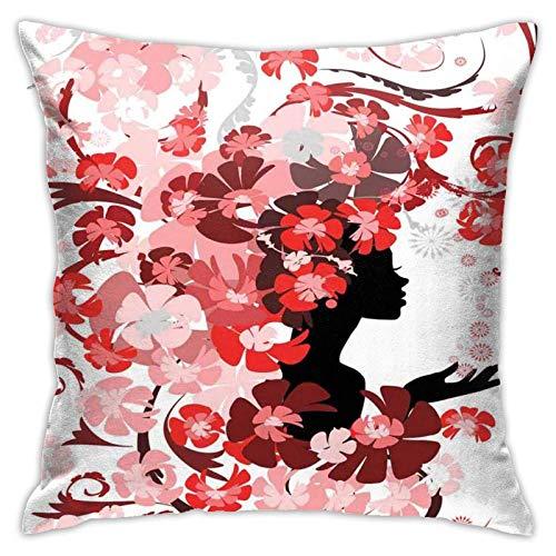 SHUJIA Funda de almohada para cojín, diseño de flores y flores, color rosa, 45,7 x 45,7 cm