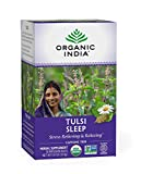 Organic India Tulsi Sleep Herbal Tea - Stress Relieving & Relaxing, Immune Support, Balances Sleep Cycles, Vegan, USDA Certified Organic, Non-GMO, Caffeine-Free - 18 Infusion Bags, 1 Pack