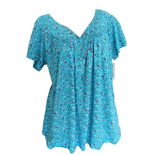 Frauen Blusen/Dorical Damen Große größe Casual Kurzarm Damenmode V-Ausschnitt Print Übergröße Drucken-Lose Tops T-Shirt Bluse Mode Damen T Shirt Kurze Ärmel Shirt S-5XL(Himmelblau,X-Large)