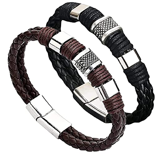 YJHC Magnetic Man Charm Masculinity Leather Bracelet,Vintage Men's Leather Magnetic Clasp Bracelet,Double Wrap Braided Leather Bracelet for Men. (2PC)