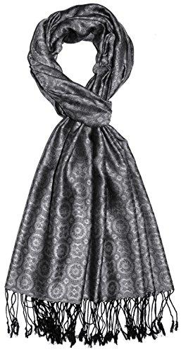 LORENZO CANA Luxus Herrenschal 70% Seide 30% Viskose Schaltuch 70 cm x 190 cm zweifarbig silber silbergrau modischer Schal fuer Maenner Herren 7842911