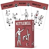 "EXERCISE CARDS KETTLEBELL - Home Gym Workouts HIIT Strength Training Build Muscle Total Body Fitness Guide Training Routines Bodybuilding Personal Learn KB Moves 3.5""x5"" Cards Burn Fat"