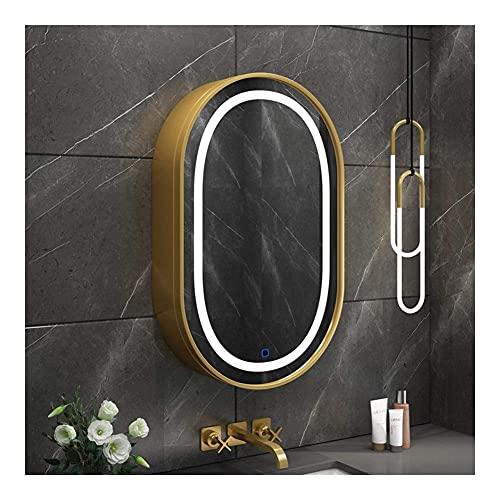 Gabinete de medicina de baño con luz multiusos gabinete de pared espejo gabinete de cocina armario de almacenamiento organizador ahorro de espacio, 50 x 80 cm