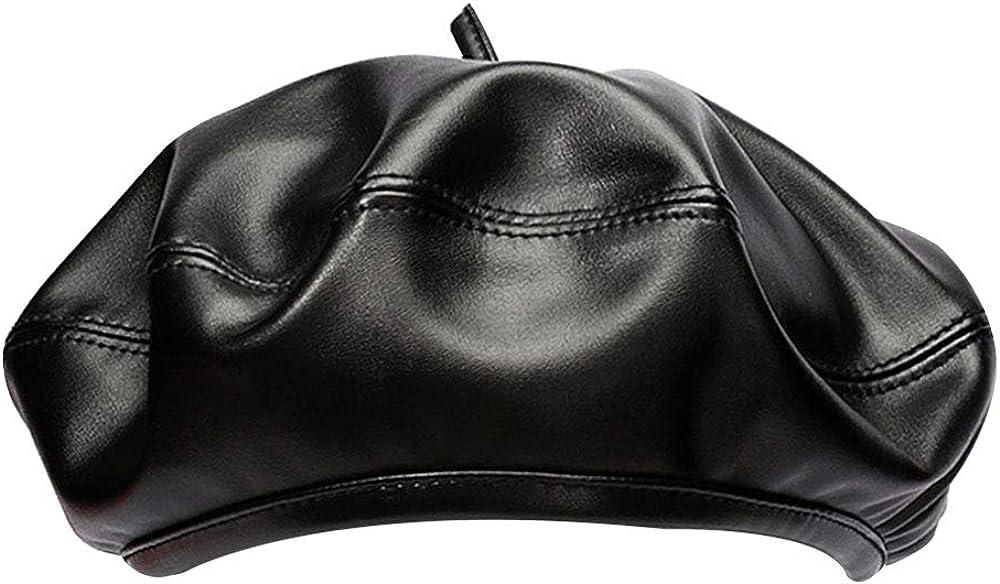 Danse Jupe Women Pearl Beaded French Wool Beret Cap Solid Winter Tam Beanie Hat(Black)