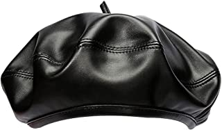 Danse Jupe Women Faux Leather Solid Beret French Artist Tam Beanie Hat Cap