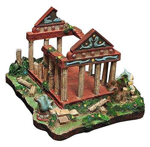 Statue Roman Tempel Ruinen, Aquarium Dekoration, Fischtank Fisch versteckte U-Boot-Gebäude-Wrack-Skulptur-Szene-Layout-Harz Skulptur Handwerk Handgemachte Statue Skulpturen ( Size : 42*32*25cm )