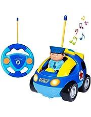 SGILE Coche Teledirigido con Música y Luces, Radio Control Remoto Coches RC, Tren de Teledirigido Niños, Coches de Policía Teledirigidos para Bebés Niños de 18 Meses+