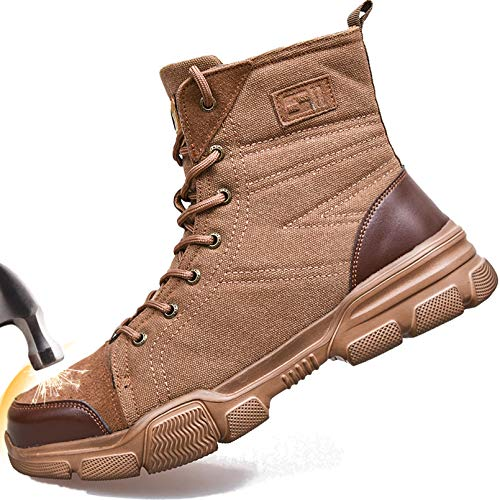 SUADEX Steel Toe Boots for Men Military Work Boots Indestructible Work Shoes for Women Athletic Safety Shoes Composite Toe Brown 9 Women / 7.5 Men