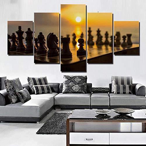 baixiangguo Cuadros Decoracion Salon Modernos 5 Piezas Material Tejido No Tejido Impresión Artística Imagen Gráfica Decoracion De Pared,Ajedrez-100 x 55 cm