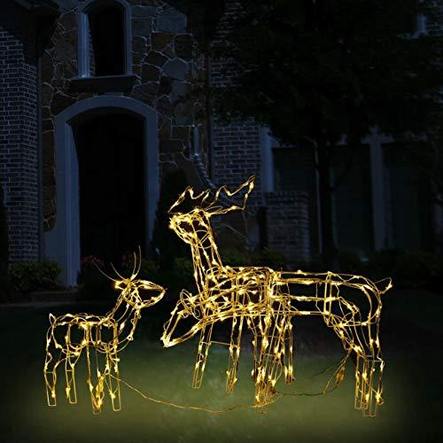 Honorall 3 Rentieren, Rentier Beleuchtet Außen, Weihnachtsdeko Garten, Leucht Deko, Warm-Weiß