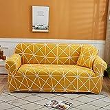 BSZHCT Elastischer Sofabezug Geometrisch Bedruckte Pattern Sofabezüge Gelb 4 Sitzer Antirutsch Stretchhusse Sofahusse Couchhusse mit 2Kissenbezug,für L Form Sofa Couch Sessel (235-310cm)