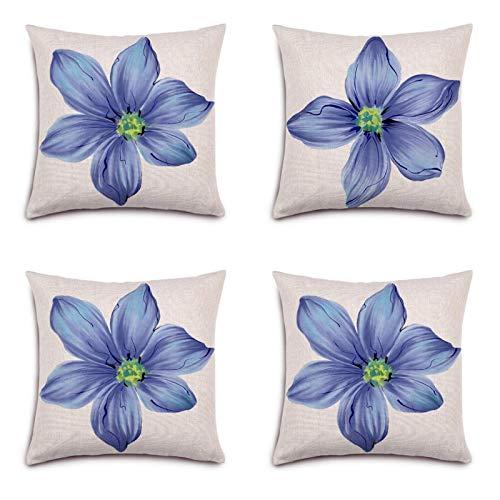45* 45cm patrón de flores algodón lino funda cojín 4 piezas conjunto