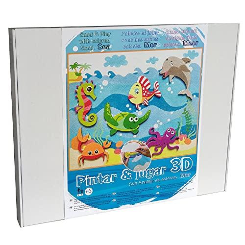 ARENART   Pack 6 Figuren von Meerestieren 45x35cm   mit farbigem Sand malen   Kunsthandwerk für Kinder   Kinderzeichnung   Malen nach Zahlen   +6 Jahre