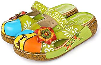 gracosy Women's Leather Slipper, Ladies Summer Slip-Ons Flat Sandals Oxford Vintage Colorful Flower Backless Loafer Shoes Green 5
