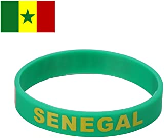TDoperator SENEGAL Flag Silicone Bracelet FIFA World Cup 2018 For Soccer Fan Unisex Design Soft and Durable Wristband for National Football Supporters Fans Fashion Sport Wrist Strap Souvenir Gift