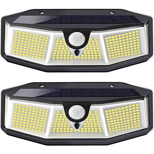 Luz Solar Exterior - 【308 LED/ 3 Modos】270 °lluminación Focos Solares Exterior con Sensor de...