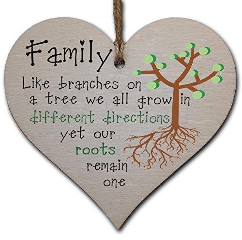Handmade Wooden Hanging Heart Plaque Gift for Mum Celebrate Family
