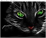 LFZY Puzzle de Madera 500 Piezas-Juego de Juguete para niños Adultos Rompecabezas clásico Decoración Regalo-Ojos Verdes Gato Negro
