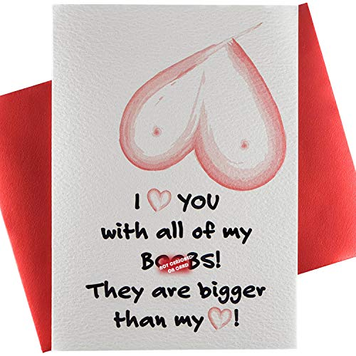 LooreeArts Premium / Funny Birthday Cards / Greetings / Anniversary Card / for Husband / Dad / Him / Men / Boyfriend / Fiance / Valentines / Naughty / Dirty / Boo Bigger / RED Envelope