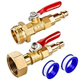 IEALODS Brass Winterize Adapter with 2 Pcs 1/4 Inch Male Quick Connecting Plug & 3/4 Inch Male and Female GHT Thread & 2 Pcs 1/4 Inch Ball Valve, Winterize Blowout Adapter for RV Boat Camper Trailer